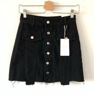 Zara black denim skirt silver buttons XS